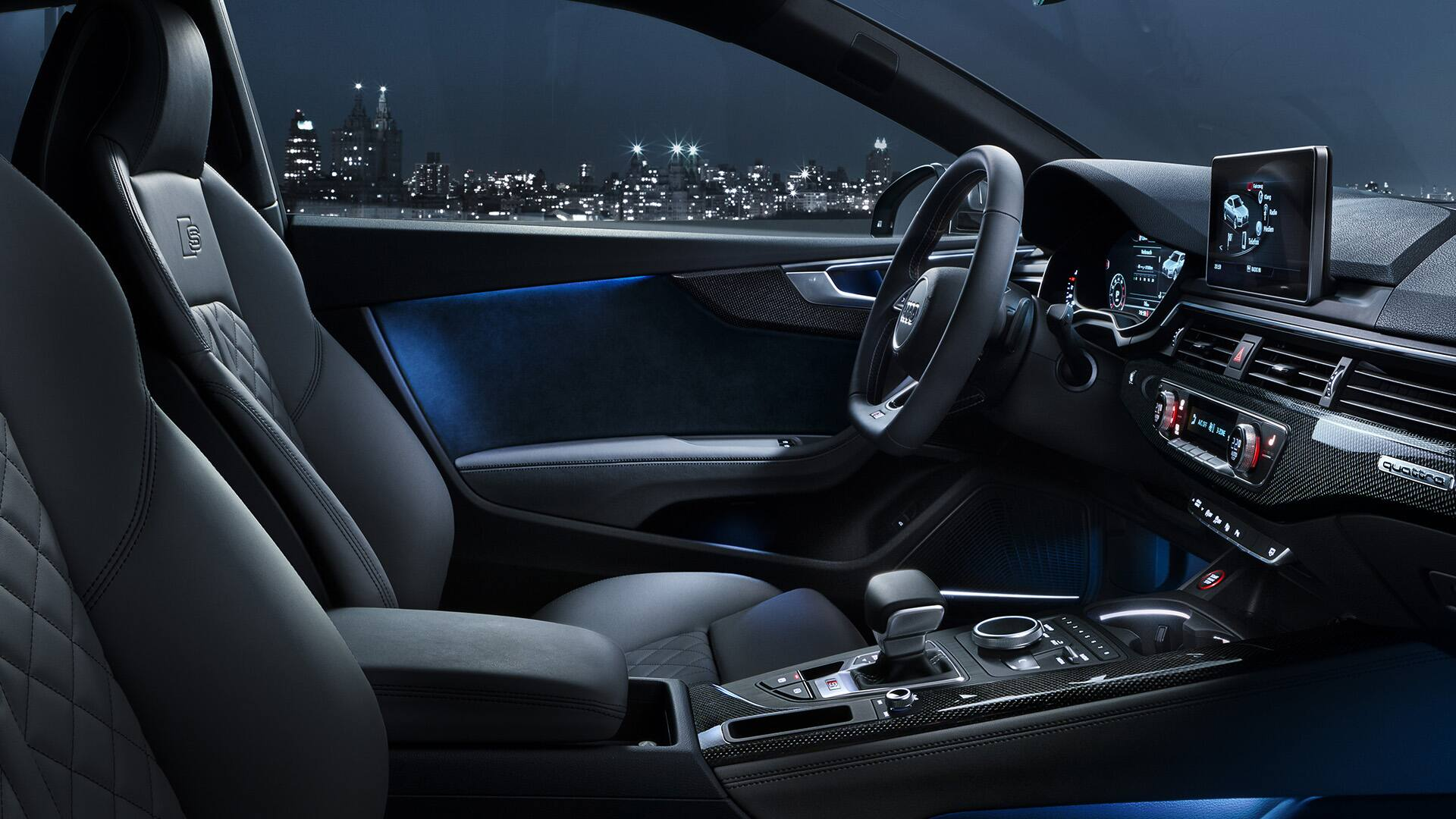 The interior of the S5 Coupé with optional ambient lighting and the  S-sports seats with diamond-stitching.